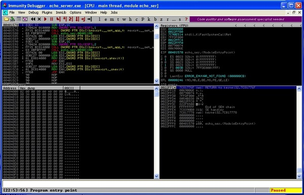 Immunity debugger echo server